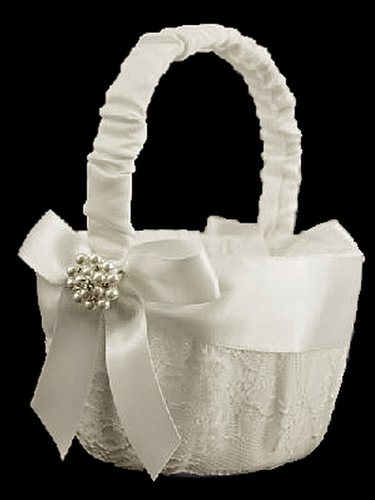 Ivory Lace Basket w/ Satin Bow & Pearls