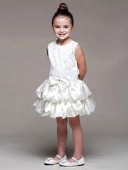CLEARANCE - Ivory Lace Bodice w/ Layered Bubble Skirt Dress