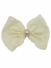 Ivory Lace Bow w/ Pearl Clip