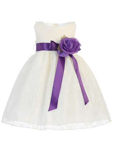 Ivory Lace Dress w/ Detachable Flower & Sash