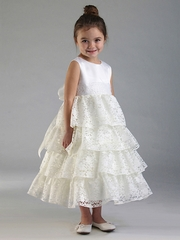 Ivory Lace Layered Dress w/ Sequined Waist