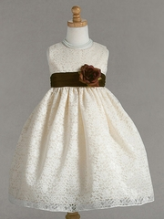 Ivory Lace Pattern Dress w/ Brown Polysilk Sash & Flower