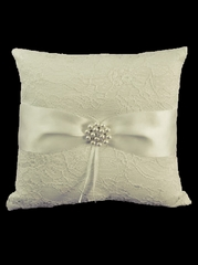 Ivory Lace Ring Pillow w/ Satin Bow & Pearls