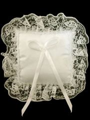 Ivory Lace Trim Square Ring Bearer Pillow