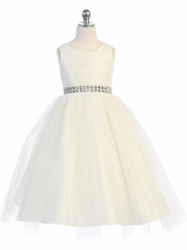 Ivory Lace & Tulle Dress w/ Rhinestone Belt