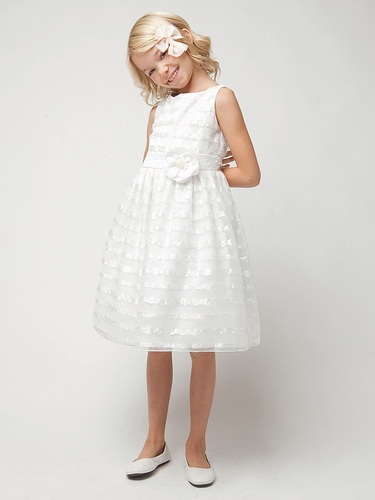 Ivory Laser Cut Satin Trim Dress