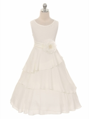 Ivory Layered Chiffon Dress w/ Waistband & Flower