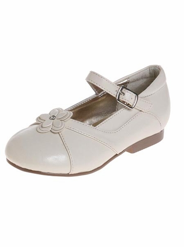 Ivory Leather Toddler/Youth Girls Dress Shoes