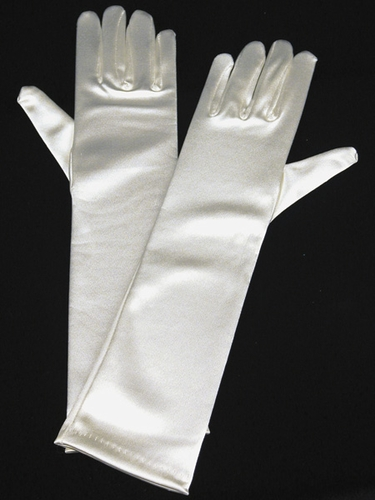 Ivory Long Satin Gloves
