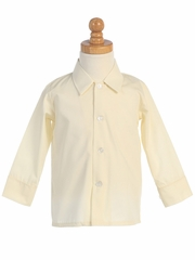 Ivory Long Sleeve Boys Dress Shirt