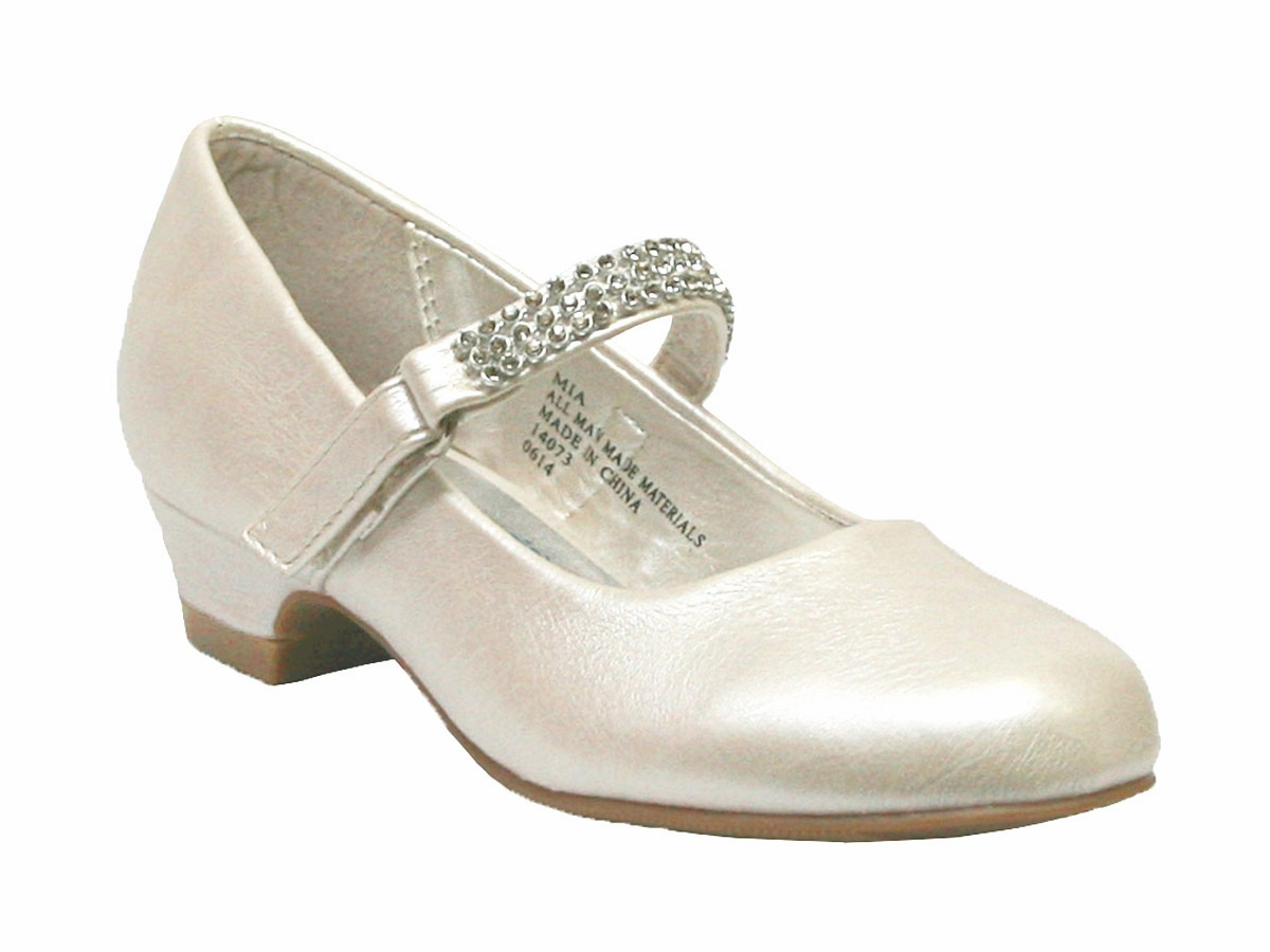 fba62c03e Ivory Low Heel Girls Dress Shoe w/ Rhinestone Strap