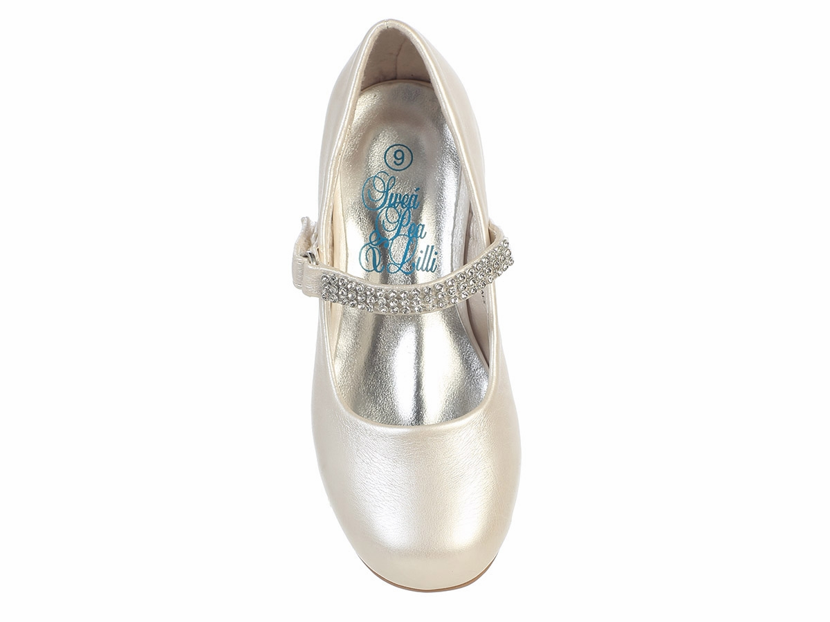 Ivory Low Heel Girls Dress Shoe W Rhinestone Strap