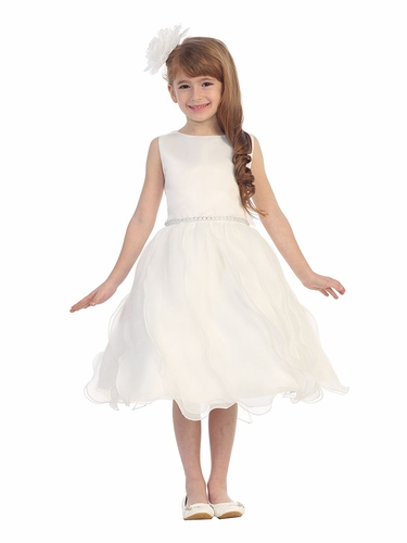 Ivory Matte Satin Soft Organza Special Occasion Dress