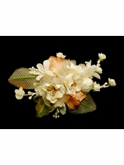 Ivory & Mauve Silk Flower Hair Clip