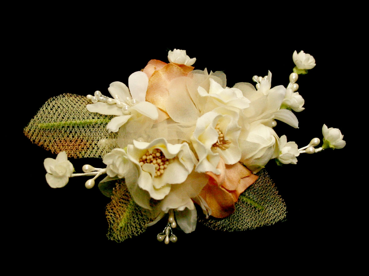 Ivory Mauve Silk Flower Hair Clip