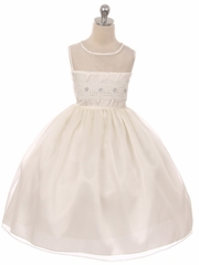 CLEARANCE - Ivory Mesh Lace Contrast Bodice w/ Jewel Accent & Voluminous Skirt