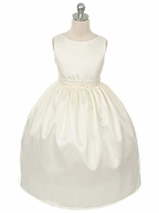 Ivory Mesh Overlay Dress w/ Gem & Pearl Trim
