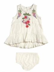 Mimi & Maggie Ivory Botanical Gardens Babies Napa Valley Dress w/ Diaper Cover