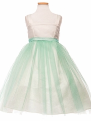 CLEARANCE - Ivory/ Mint Satin & Tulle Dress w/ Sash