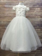 CLEARANCE - Ivory Off The Shoulder Dress w/ Tulle Skirt