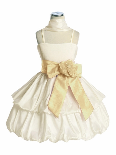 Ivory Two Layer Bubble Taffeta Dress w/Sash & Flower