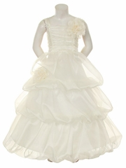Ivory Organza 3 Tier Dress w/ Flowers