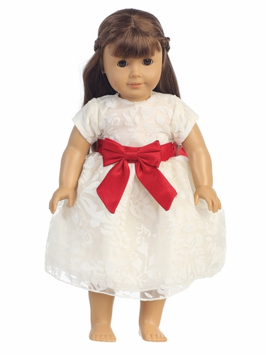 "Ivory Organza Burnout w/ Red Ribbon 18"" Doll Dress"