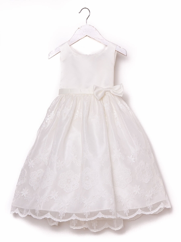 Ivory Organza Floral Embroidered Dress
