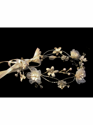 Ivory Organza Flower Crown w/ Ribbon