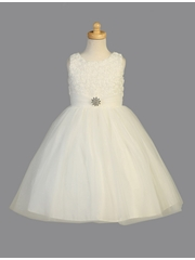 Ivory Organza Flower w/ Pearl & Sparkling Tulle Dress