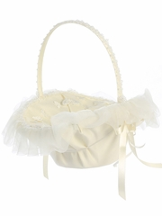 Ivory Organza Trim w/ Butterfly Appliques Basket