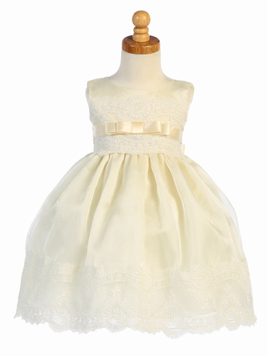 Ivory Organza w/ Embroidered Tulle Lace Trims Dress