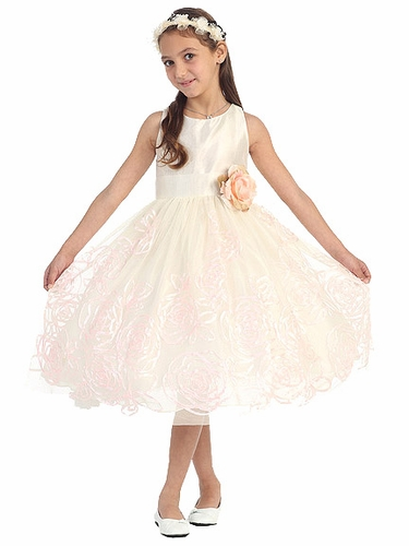 Ivory Peach Shantoon Bodice w/ Floral Tape Embroidery Skirt