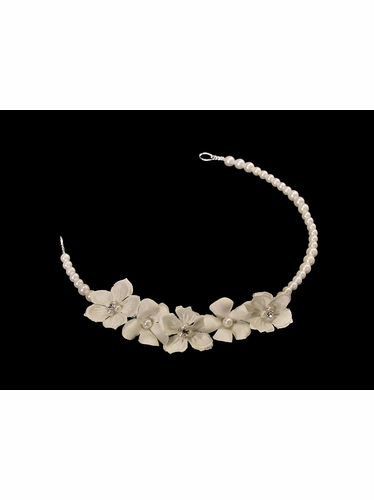 Ivory Pearl Headpiece w/ Flowers