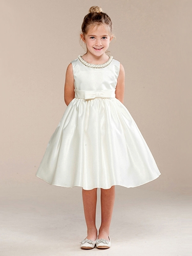 Ivory Pearl Neckline Flower Girl Dress w/ Bow
