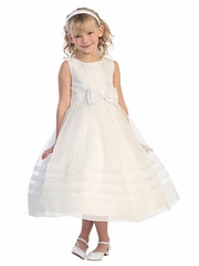 Ivory Pearl Neckline Lace Bodice w/ Pleated Detail Skirt
