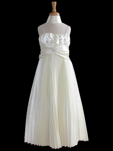 Ivory Pleated Shiny Satin Long Dress