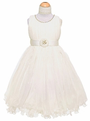 Ivory Pleated Tulles & Jewels Dress