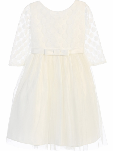 Ivory Polka Dot Mesh w/ Satin Dress