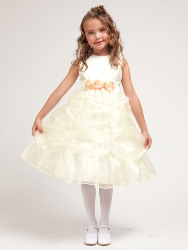 Ivory Princess Gathered Organza Dress w/Satin Bodice