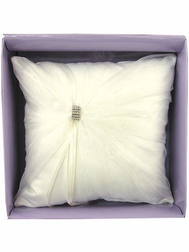 Ivory Rhinestone Ring Bearer Pillow