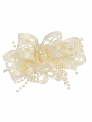 Ivory Ribbon & Beads Hair Clip