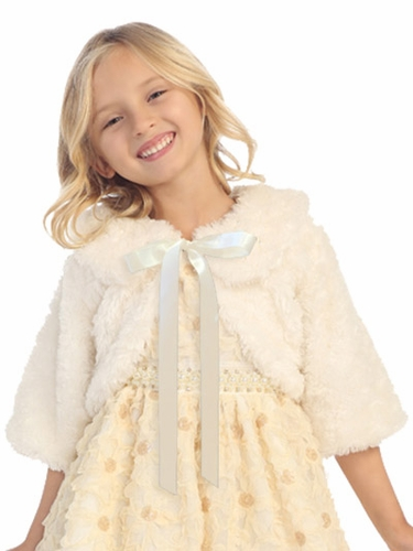 Ivory Ribbon Fur Jacket w/ Collar