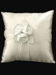 Ivory Ring Bearer Pillow w/3 Satin Roses