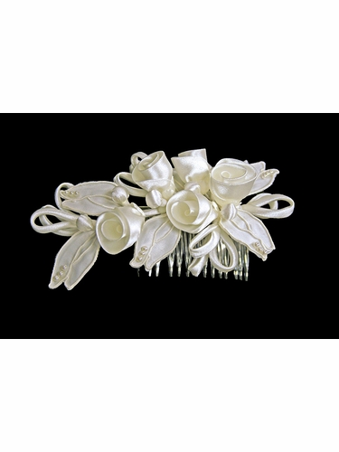 Ivory Rolled Satin Rose w/ Pearl Loops Head Comb