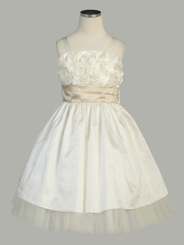 Ivory Rose Bodice Taffeta Dress w/ Removable Sash