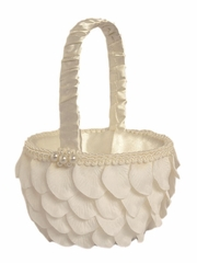 Ivory Rose Pattern Design w/ Pearls Flower Girl Basket