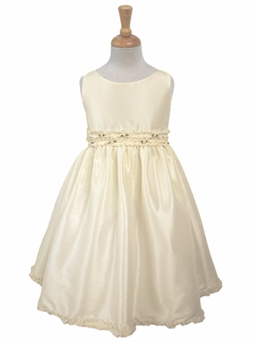 Ivory Rose Waistband Taffeta Dress
