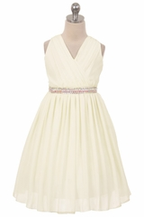 Ivory Ruched Bodice Sleeveless Dress w/ Stud Waistband