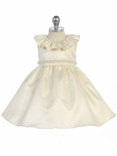 Ivory Ruffle Neckline Fit & Flare Baby Dress